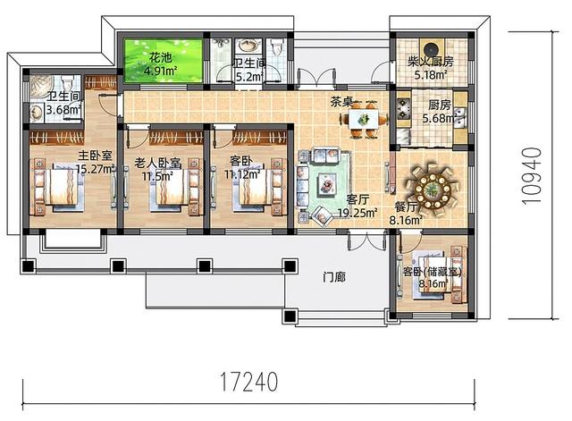 美观、实用、经济的农村一层别墅,自建价18.8w,养老生活不用愁